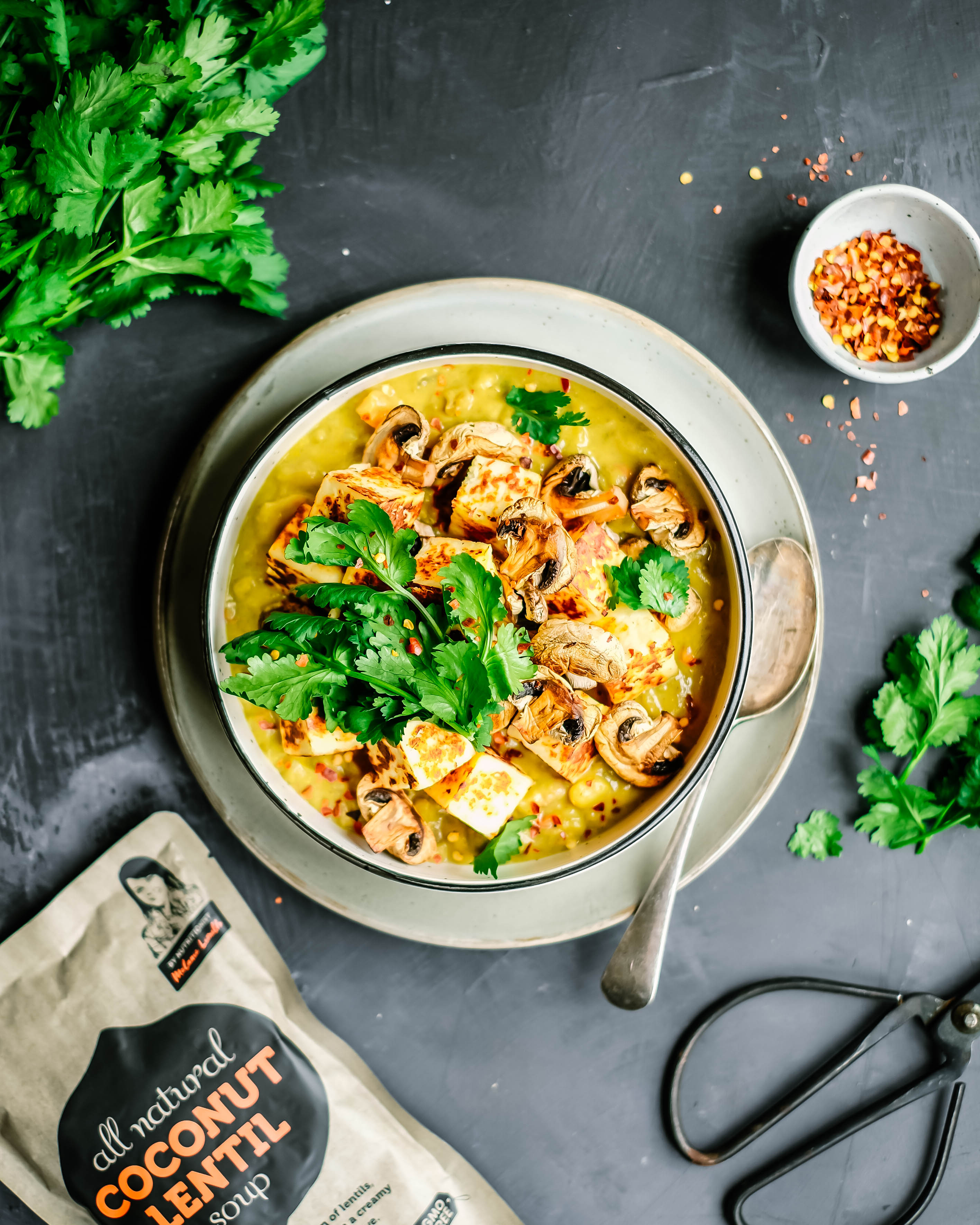 COCONUT LENTIL PANEER CURRY WITH MUSHROOMS